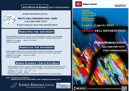 Poster with events at the Domus Romana Lucca in occasion of The Nights of Archeology