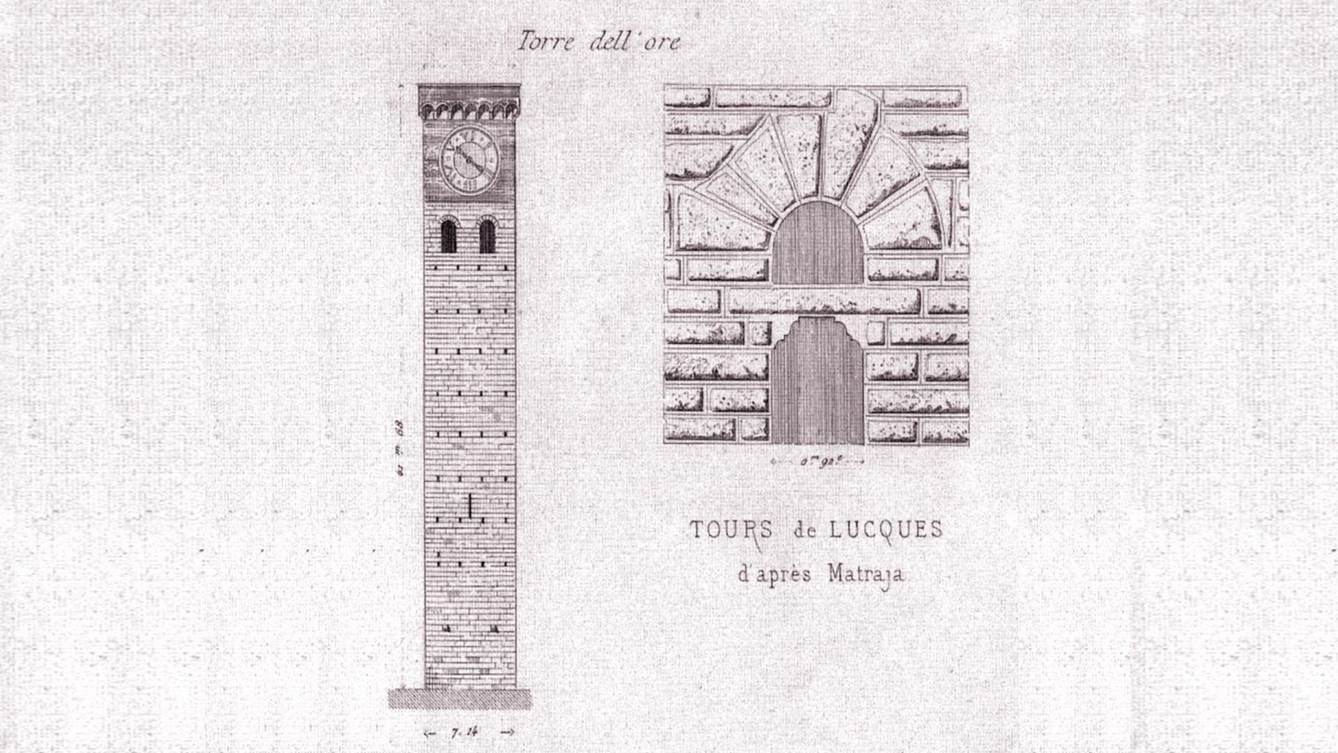 disegno antico della torre delle ore