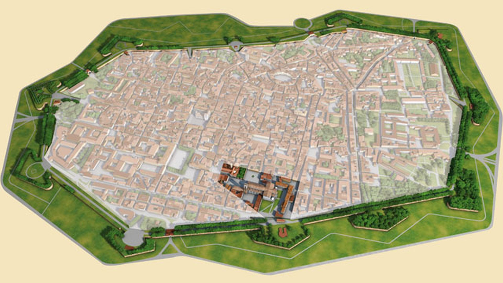 Map of Lucca with spotlight on the southern side