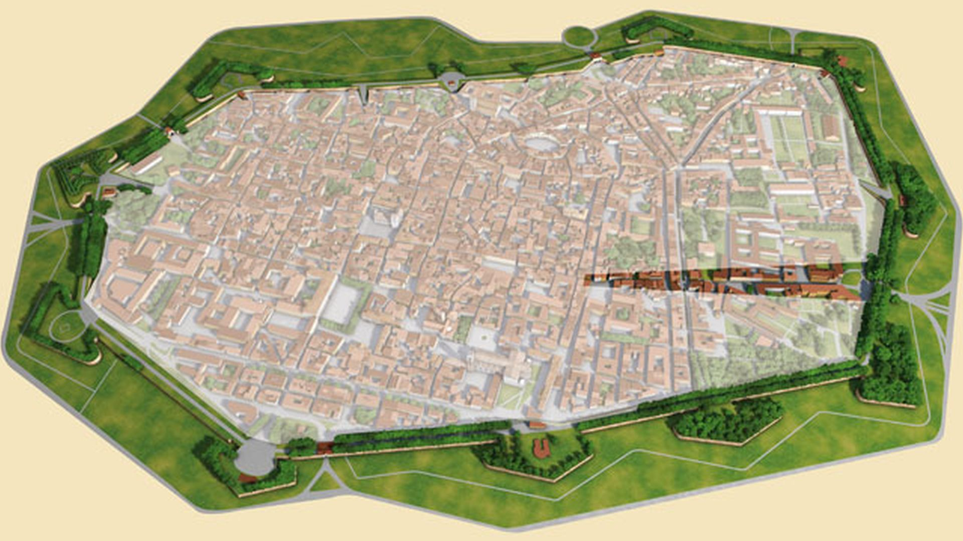 Map of Lucca with spotlight on the eastern area