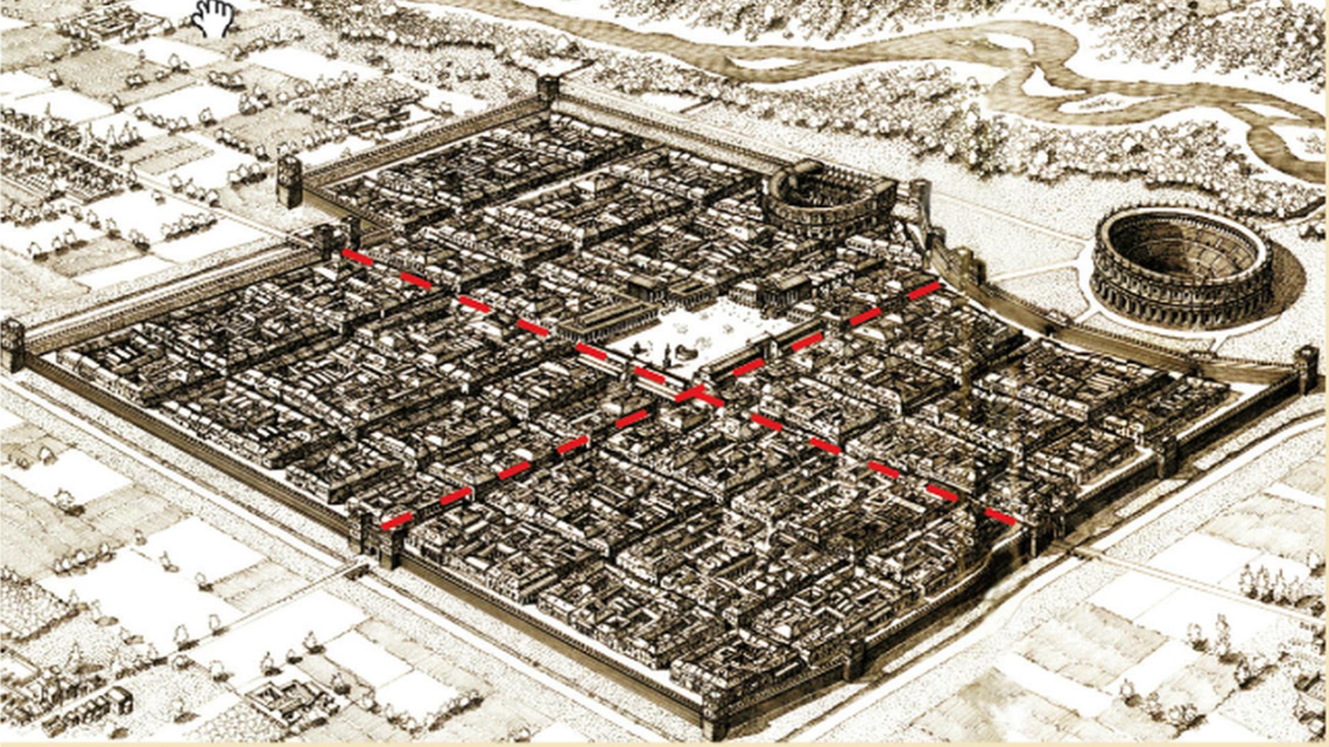 Lucca, veduta prospettica della città romana