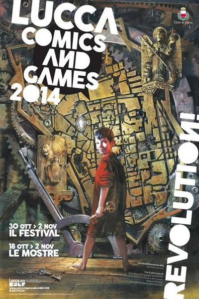the historical center of lucca in the poster of lucca comics and games 2014