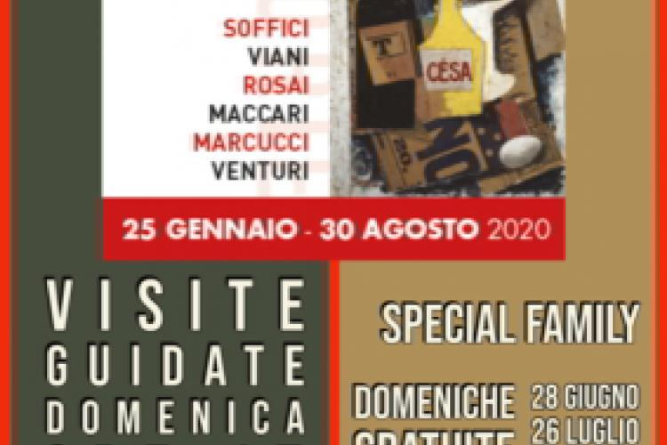 Poster of guided visits at the exhibit Storie del '900 in Toscana