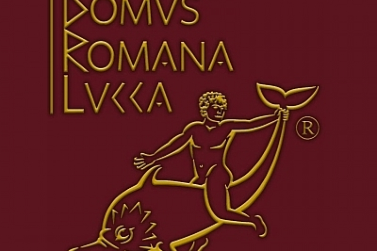 "Logo of the Domus Romana Lucca. Golden title on dark red ground ""Domus  romana lucca"" and image of a boy on a dolphin holding his tail."